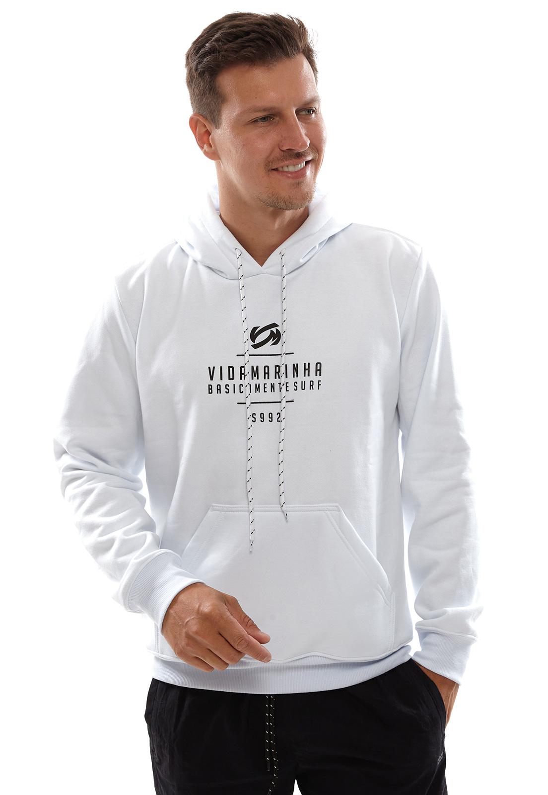 Blusa de Moletom Vida Marinha Canguru Fechado Branco com Capuz