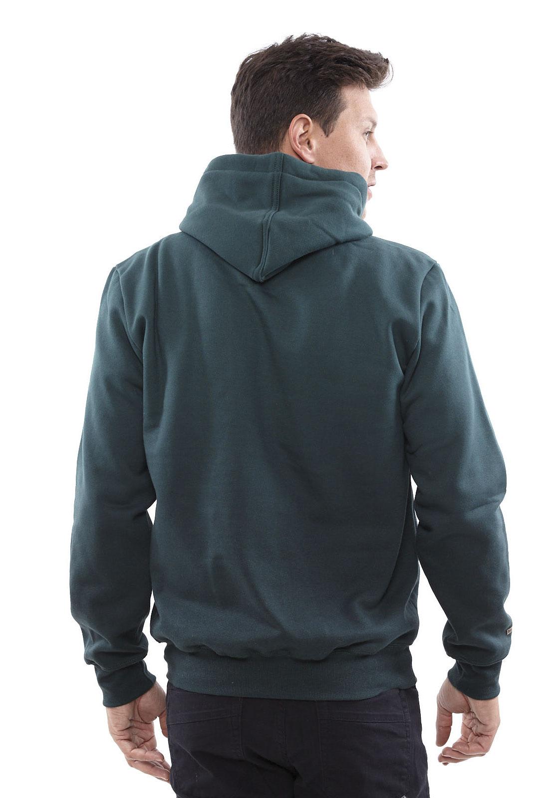 Blusa de Moletom Vida Marinha Canguru Fechado Verde com Capuz
