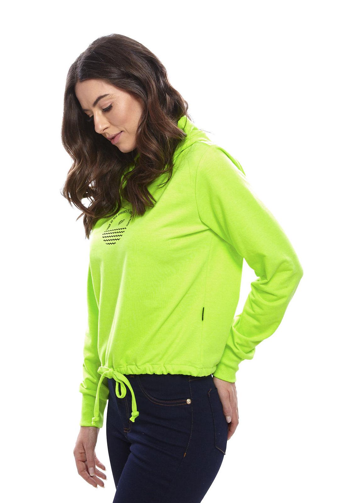 Blusa De Moletom Vida Marinha Canguru Fechado Verde Neon