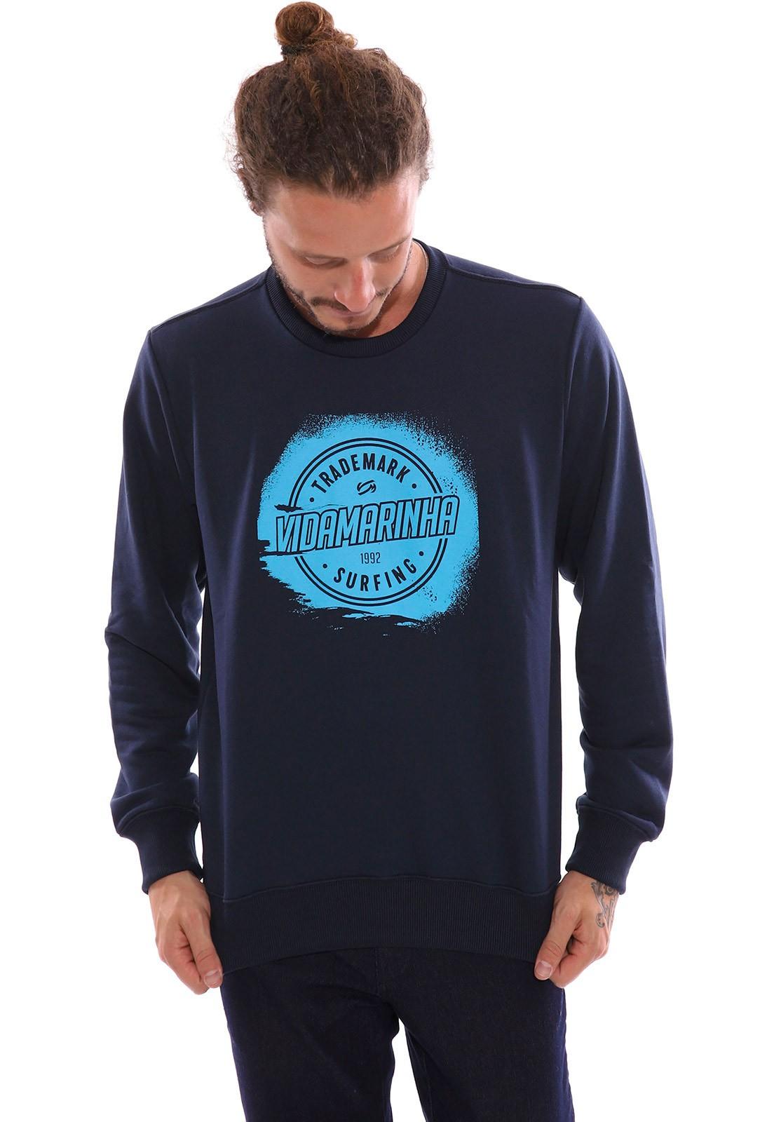 Blusa de Moletom Vida Marinha Fechado Azul Marinho