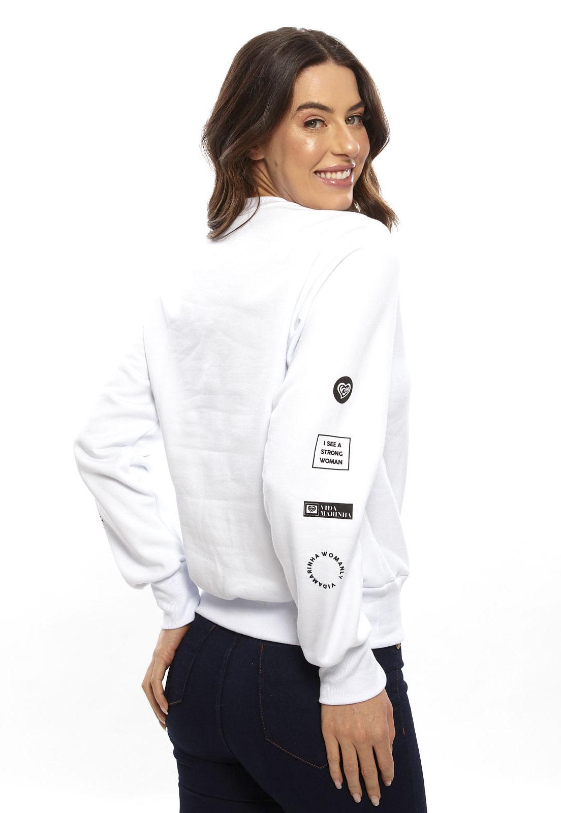 Blusa De Moletom Vida Marinha Fechado Branco
