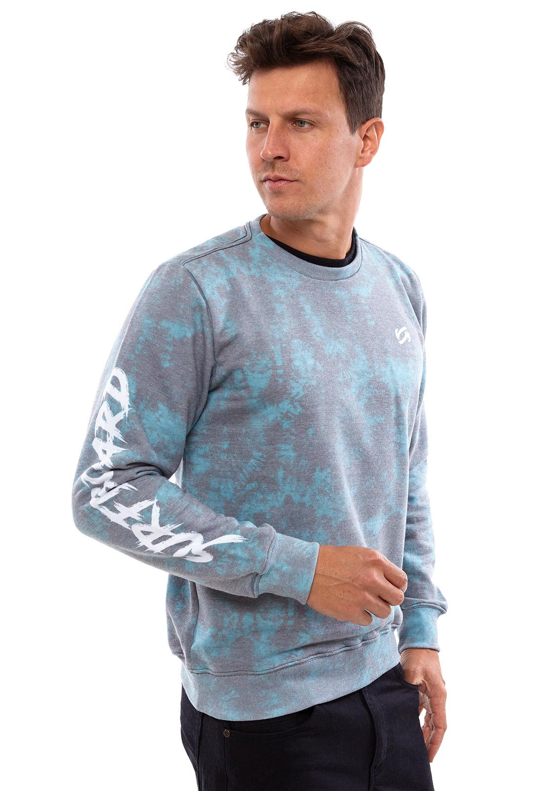 Blusa de Moletom Vida Marinha Gola Redonda Tie Dye Azul/Cinza