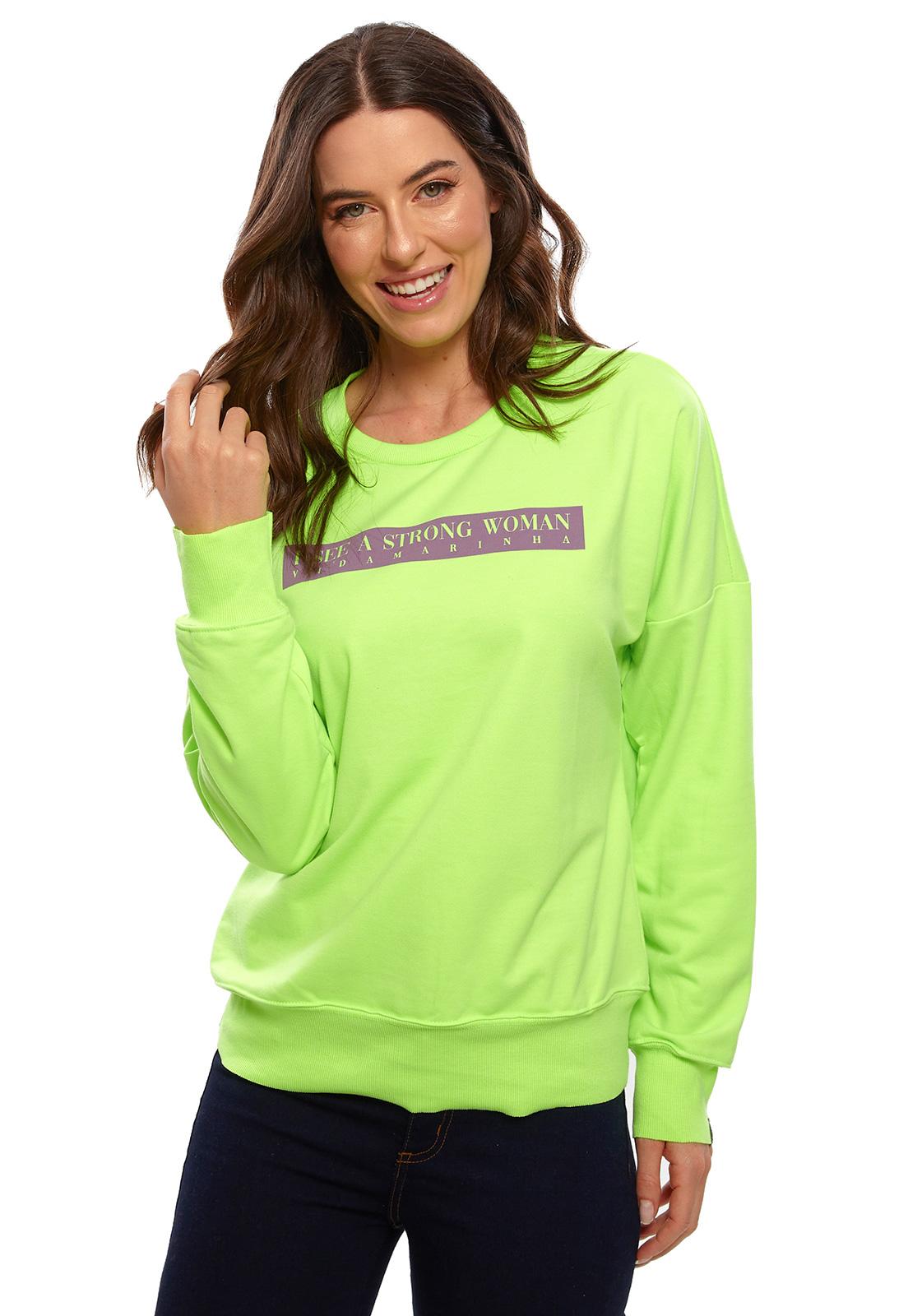 Blusa de Moletom Vida Marinha Gola Redonda Verde Neon