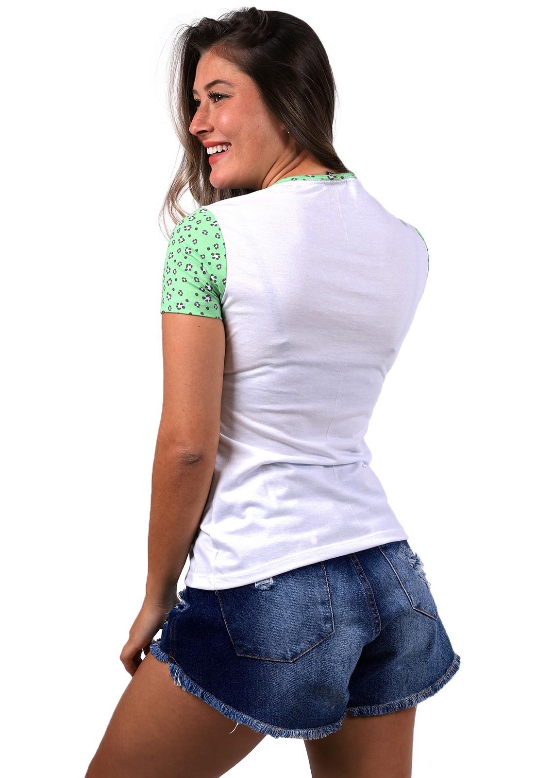 Blusinha Vida Marinha Manga Curta Branco/Verde