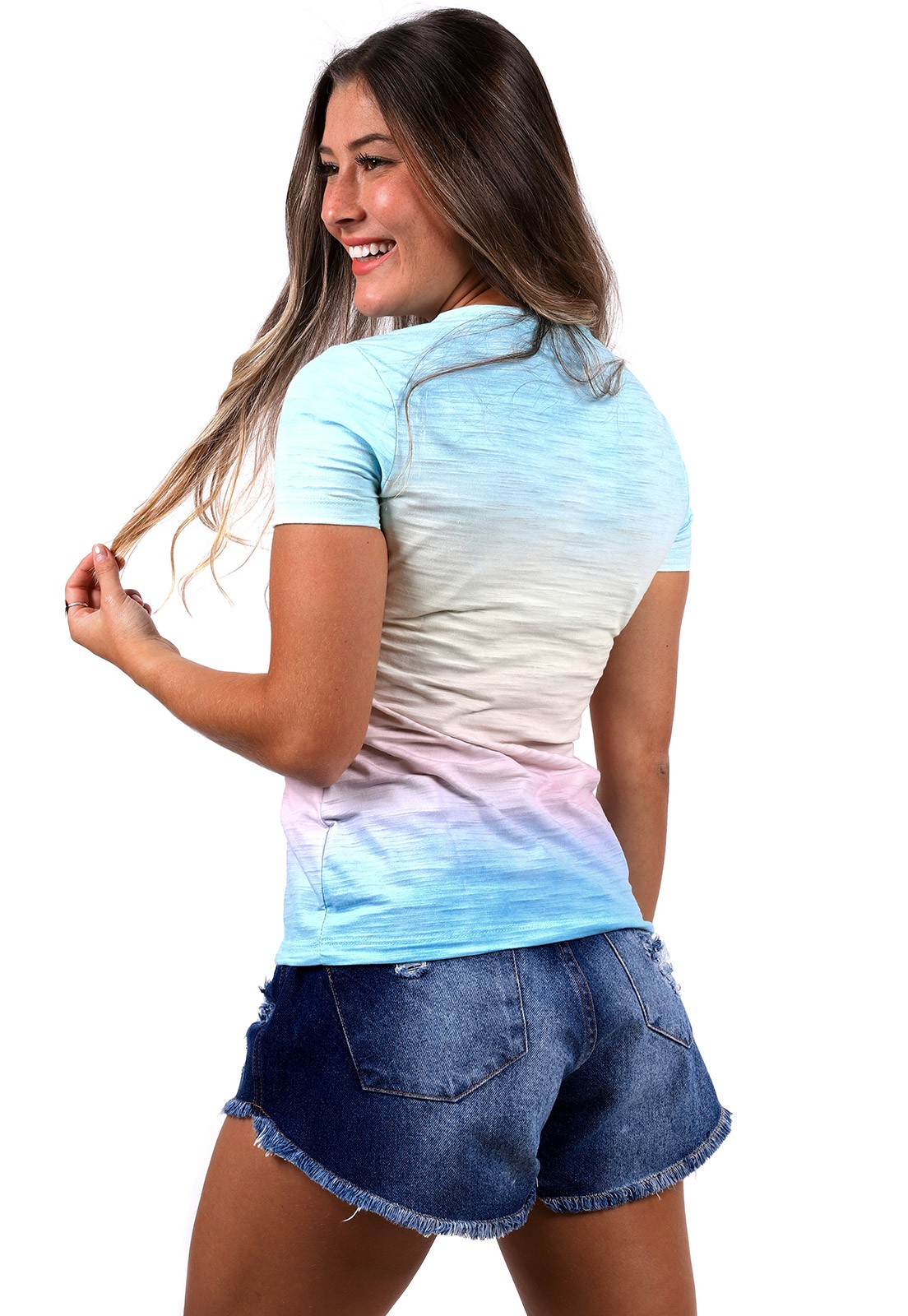 Blusinha Vida Marinha Manga Curta Estampada Tie Dye