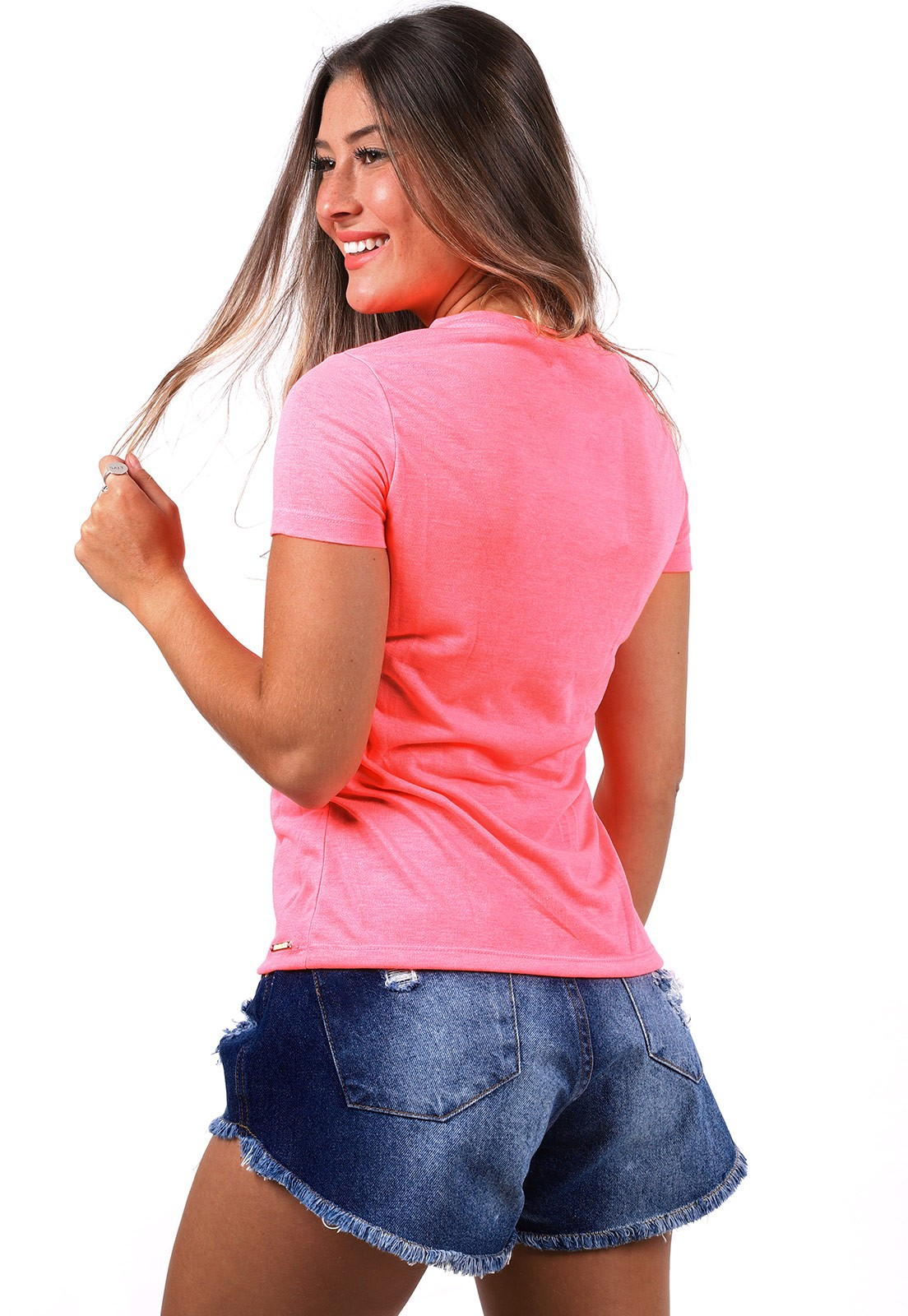 Blusinha Vida Marinha Manga Curta Pink