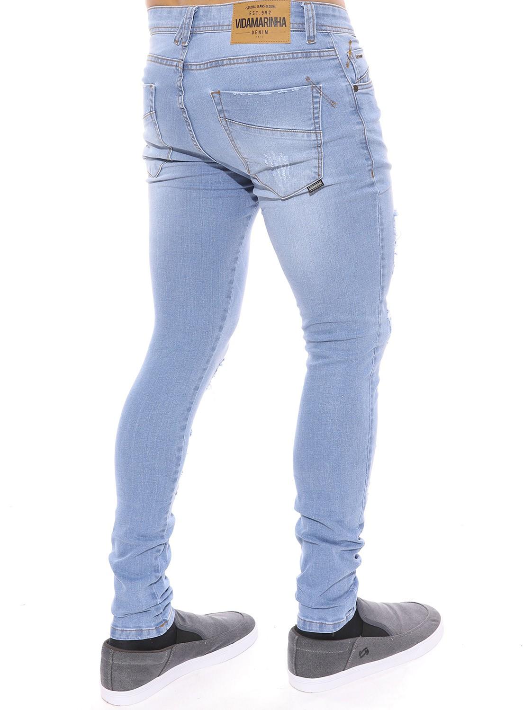 Calça Jeans Vida Marinha Skinny Destroyed