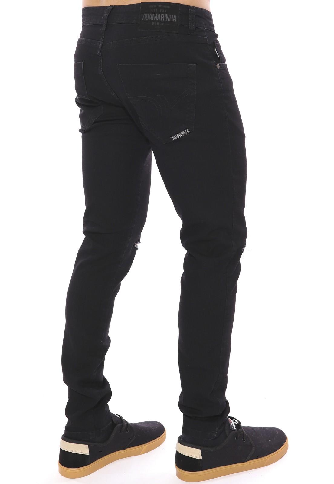 Calça Jeans Vida Marinha Skinny Preto