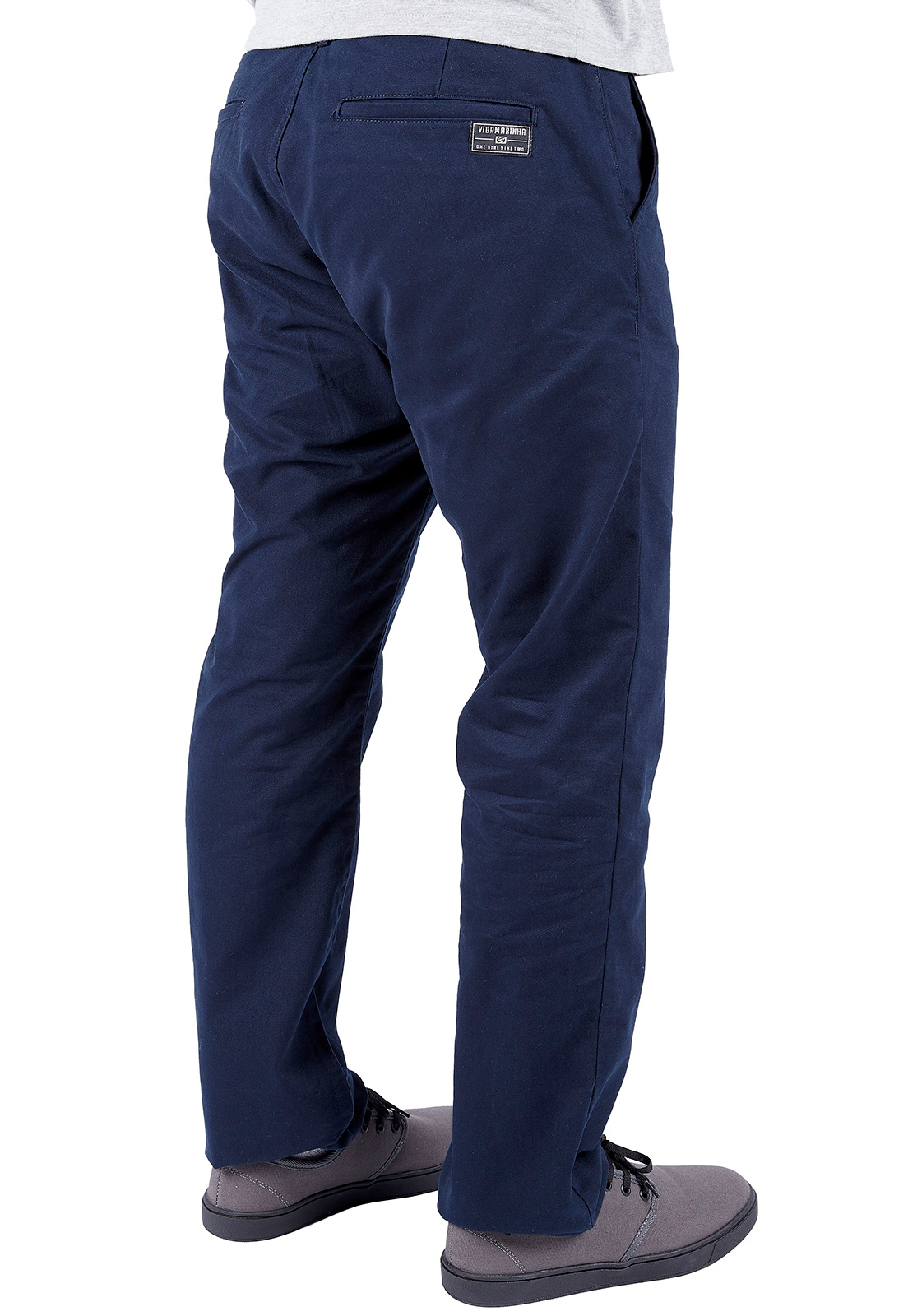 Calça de Sarja Vida Marinha Slim Azul Marinho