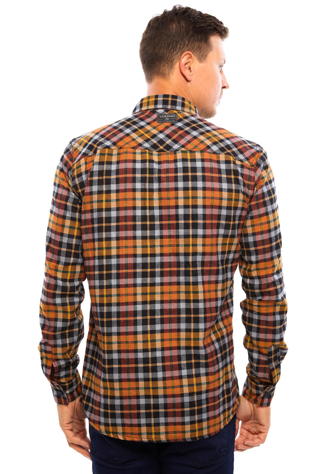 Camisa de Flanela Vida Marinha Manga Longa Xadrez