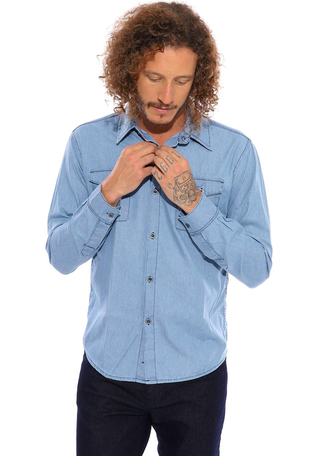 Camisa Jeans Vida Marinha Manga Longa