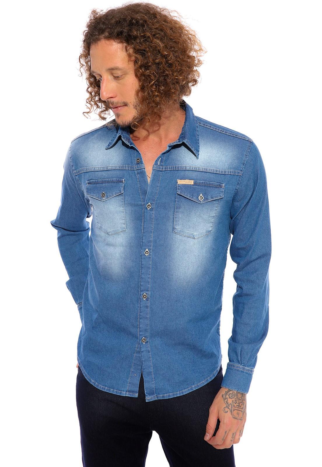 Camisa Vida Marinha Manga Longa  Jeans Elastano