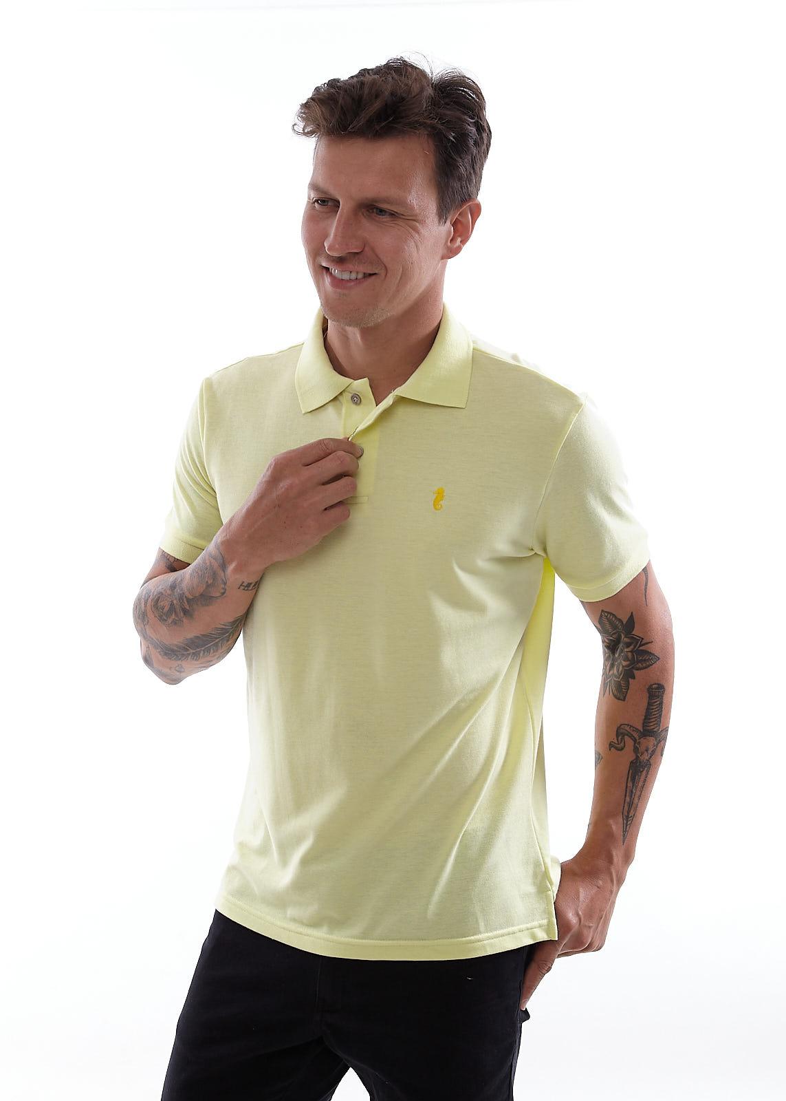 Camisa Polo Piquet Vida Marinha Manga Curta Amarelo