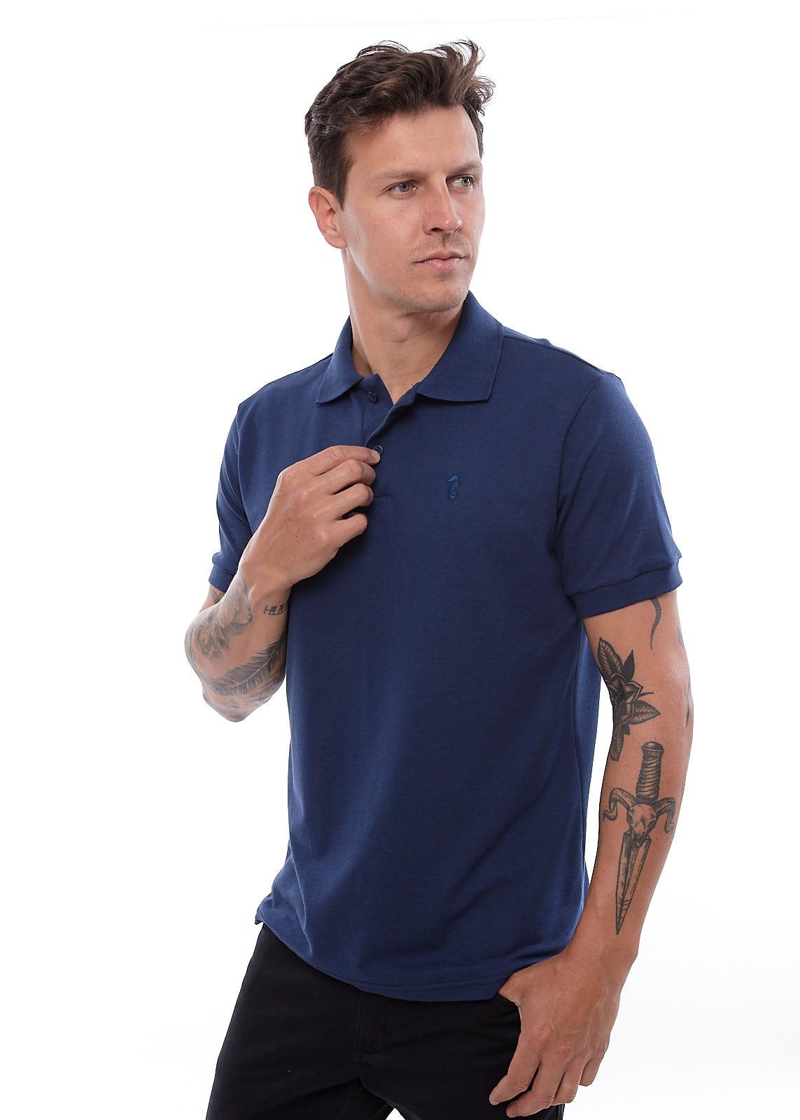 Camisa Polo Piquet Vida Marinha Manga Curta Azul
