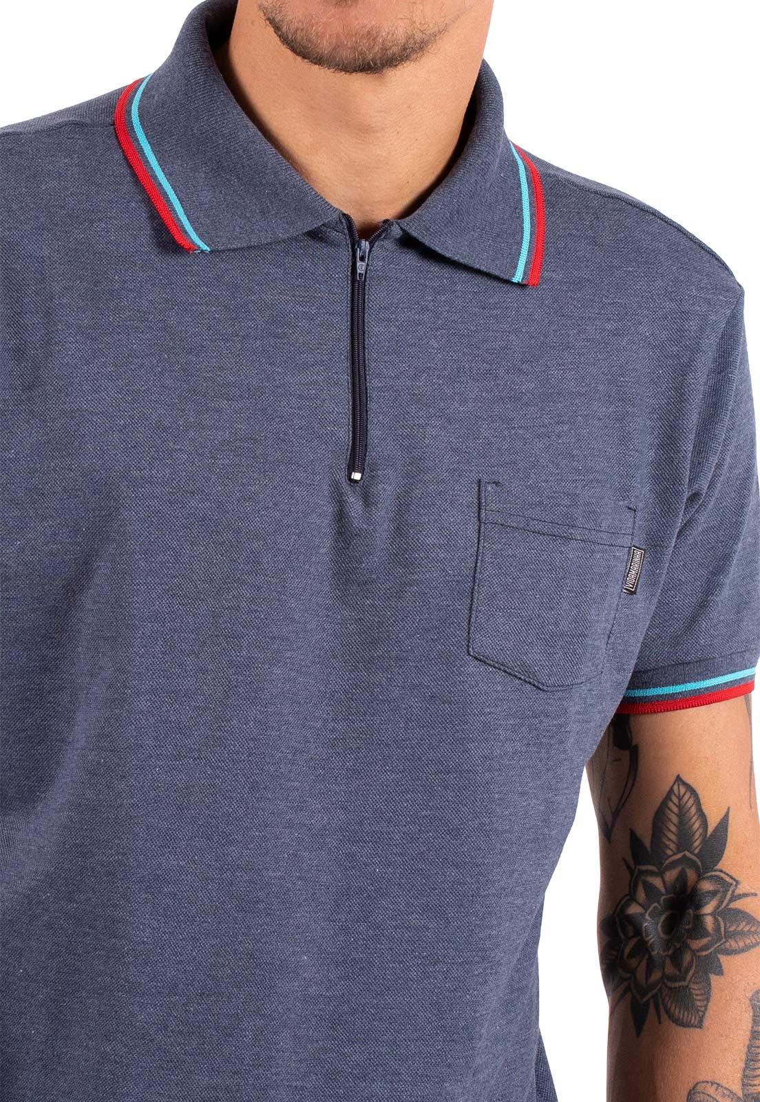 Camisa Polo Vida Marinha Manga Curta Azul