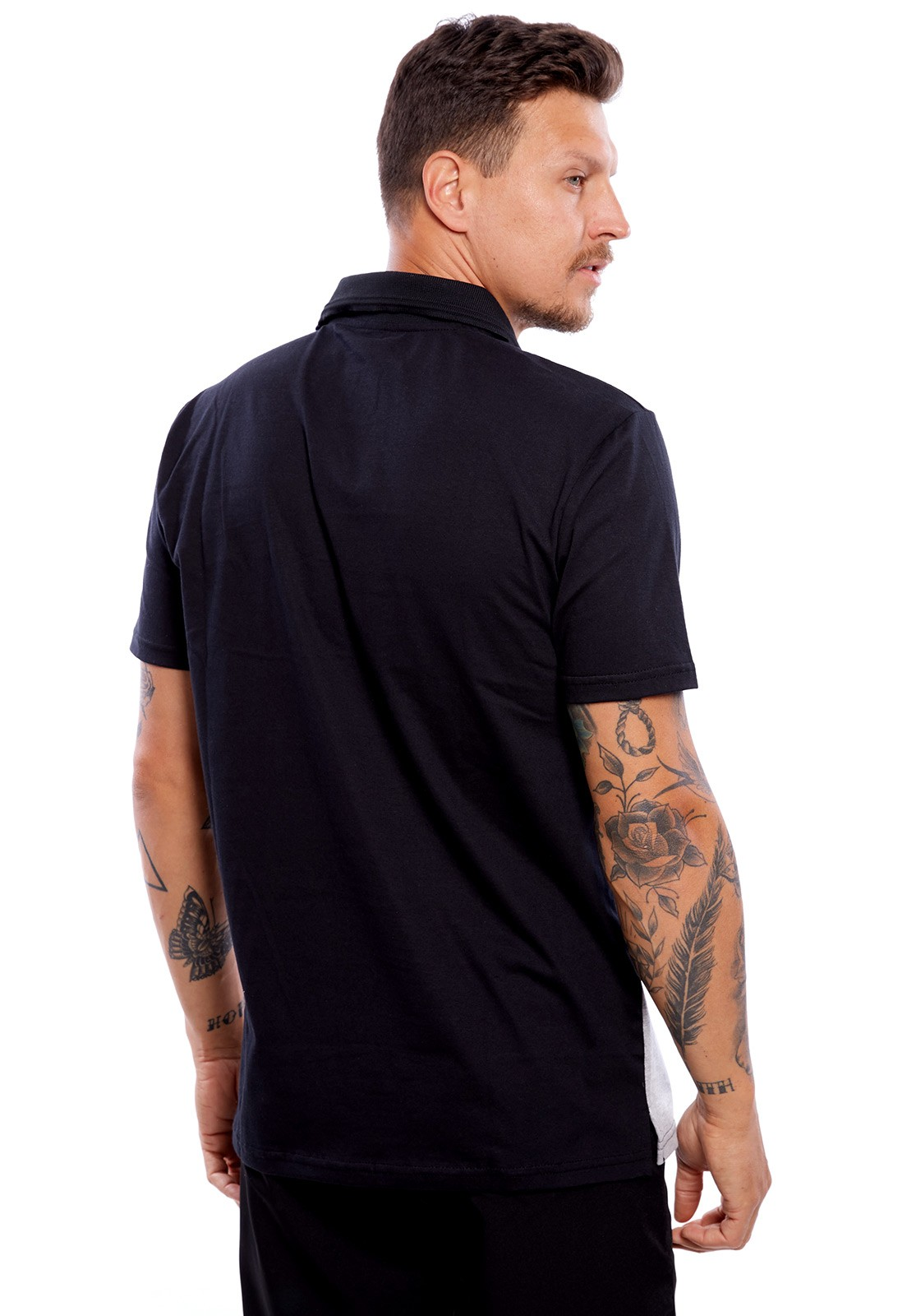 Camisa Polo Vida Marinha Manga Curta Cinza/Preto