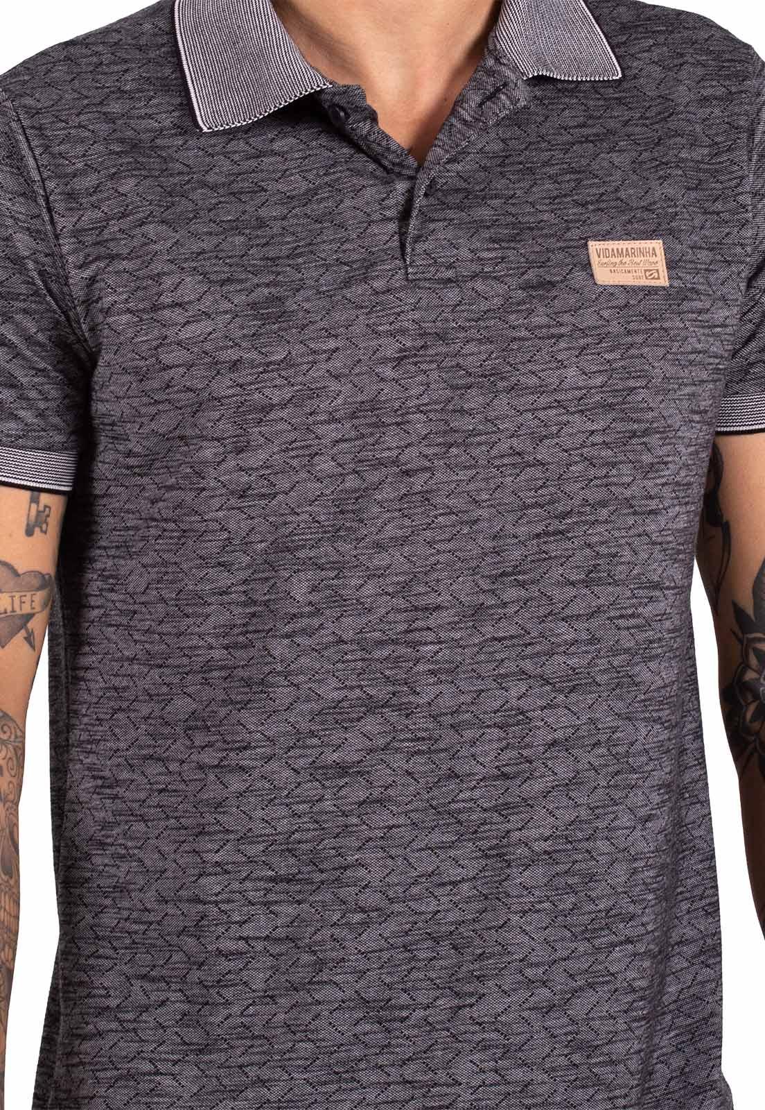 Camisa Polo Vida Marinha Manga Curta Preto