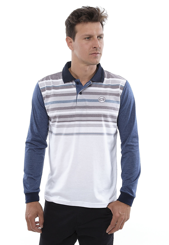 Camisa Polo Vida Marinha Manga Longa Branco/Azul