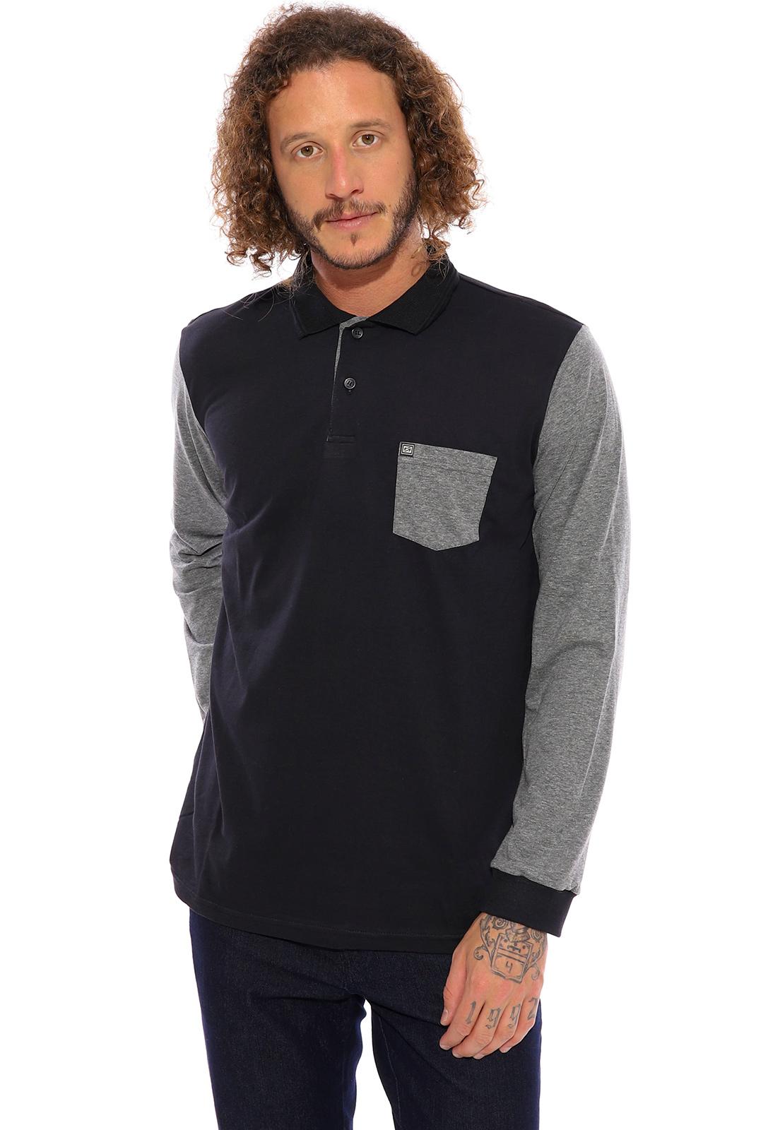 Camisa Polo Plus Size Vida Marinha Manga Longa Preto/Cinza