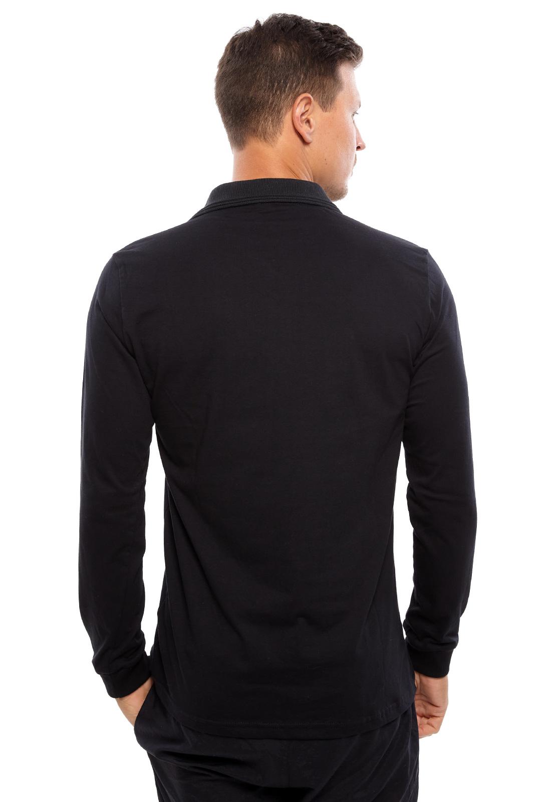 Camisa Polo Vida Marinha Manga Longa Preto/Cinza