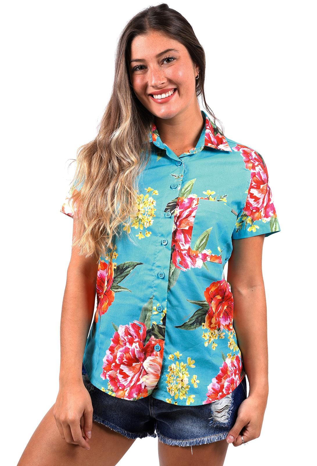 Camisa Vida Marinha Estampada Azul