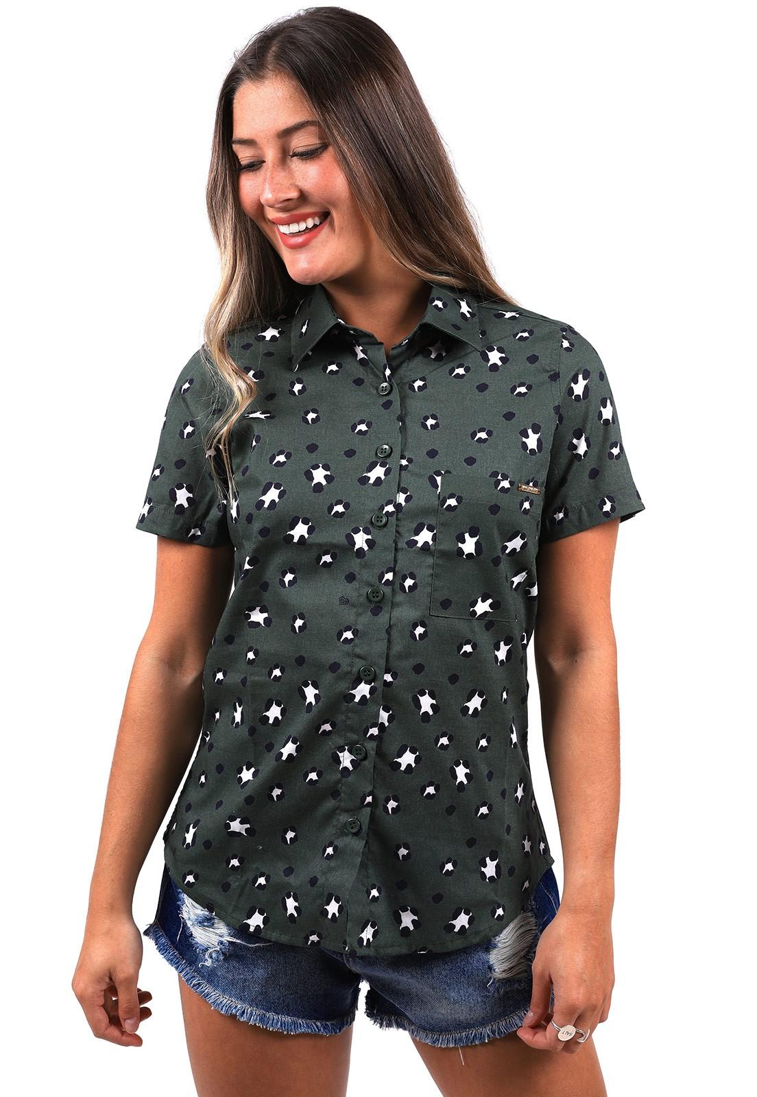 Camisa Vida Marinha Estampada Verde Musgo