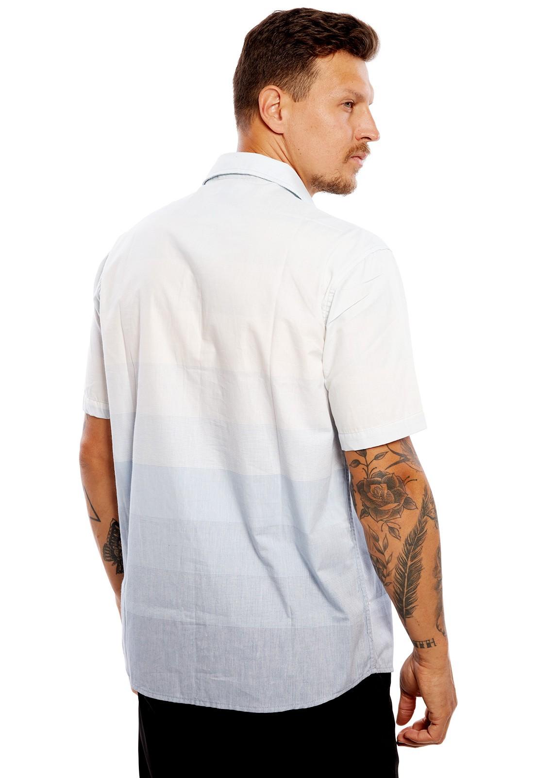 Camisa Vida Marinha Manga Curta Degradê Azul/Branco