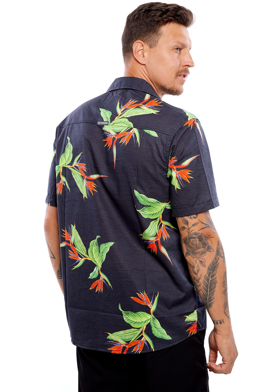 Camisa Vida Marinha Manga Curta Estampada Preta