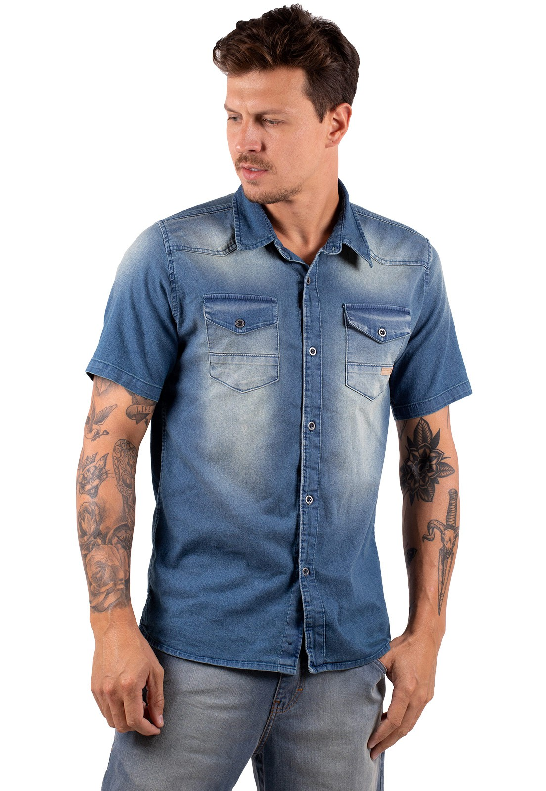 Camisa Vida Marinha Manga Curta Jeans Azul
