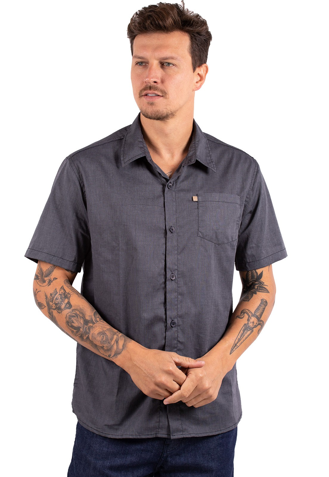 Camisa Vida Marinha Manga Curta Lisa Preto