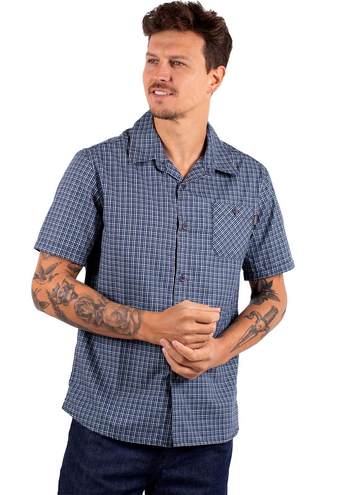 Camisa Vida Marinha Manga Curta Xadrez Azul