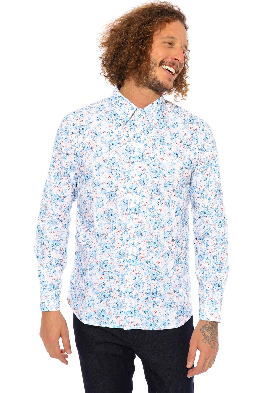 Camisa de Viscose Vida Marinha Manga Longa Branco/Floral