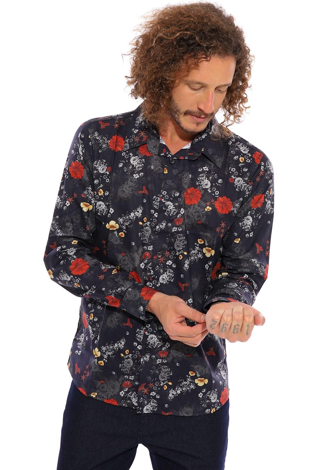 Camisa Vida Marinha Manga Longa Floral Preto