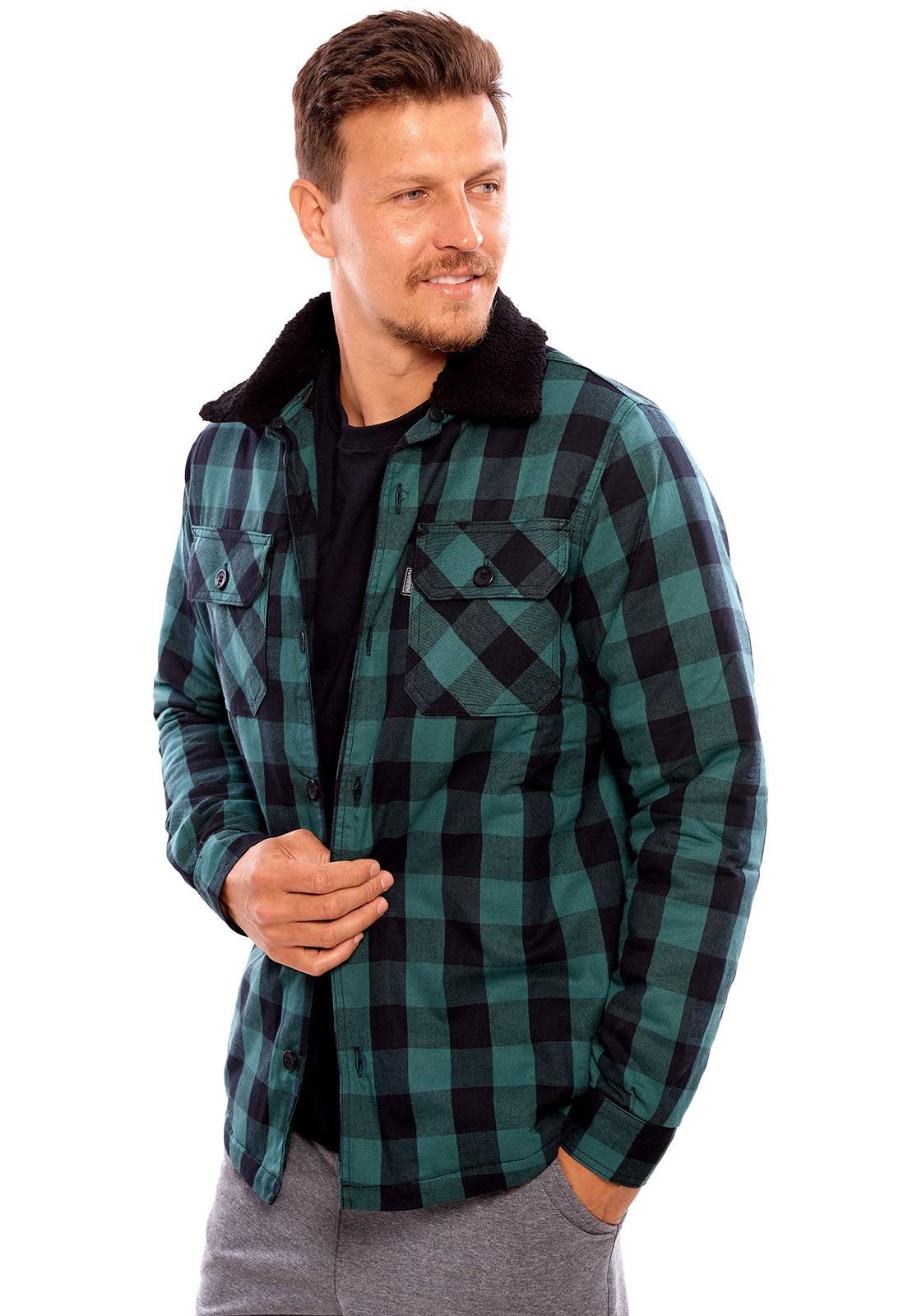 Camisa Vida Marinha Manga Longa Forrada Xadrez Verde