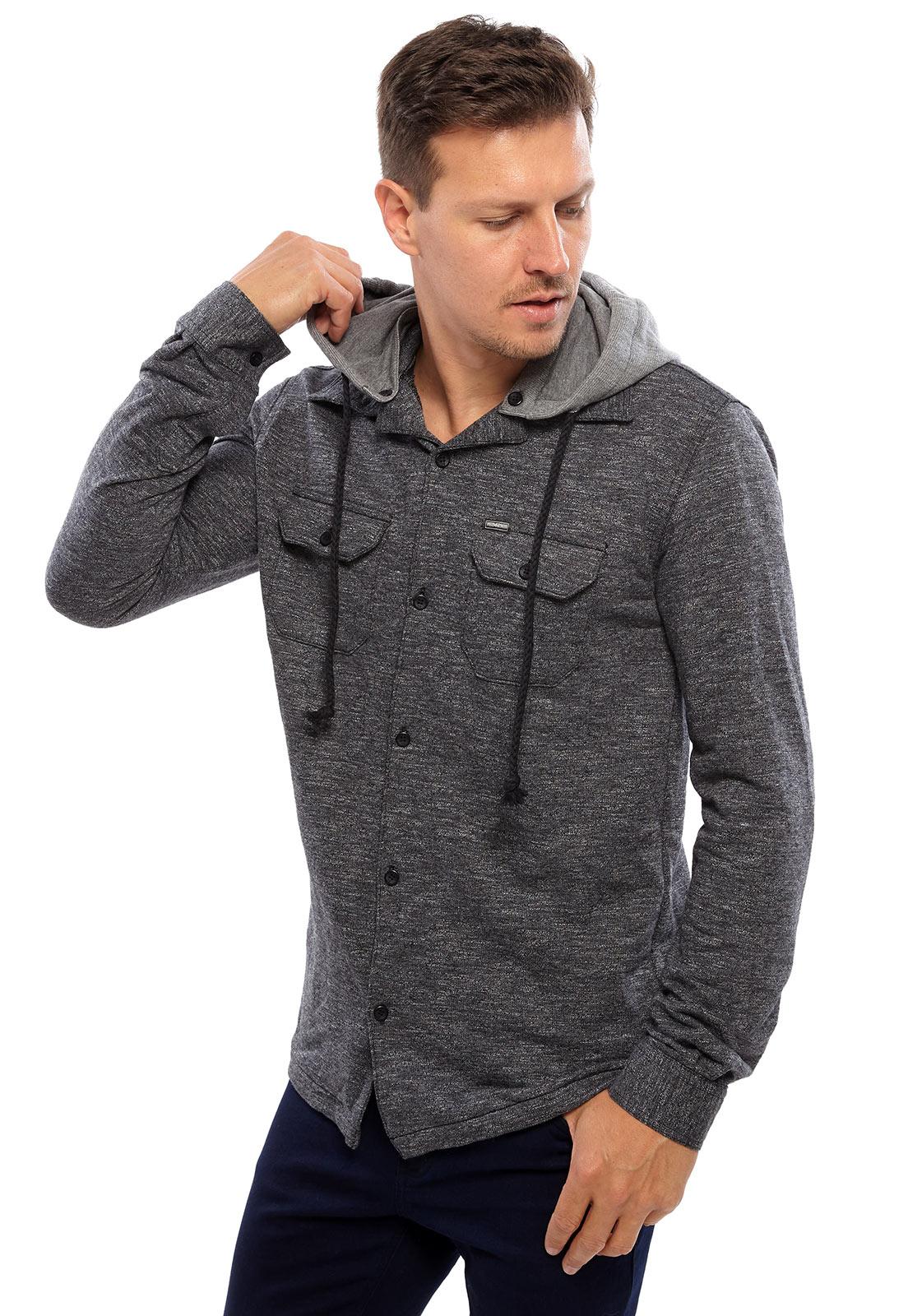 Camisa Vida Marinha Manga Longa Preto com Capuz Removível