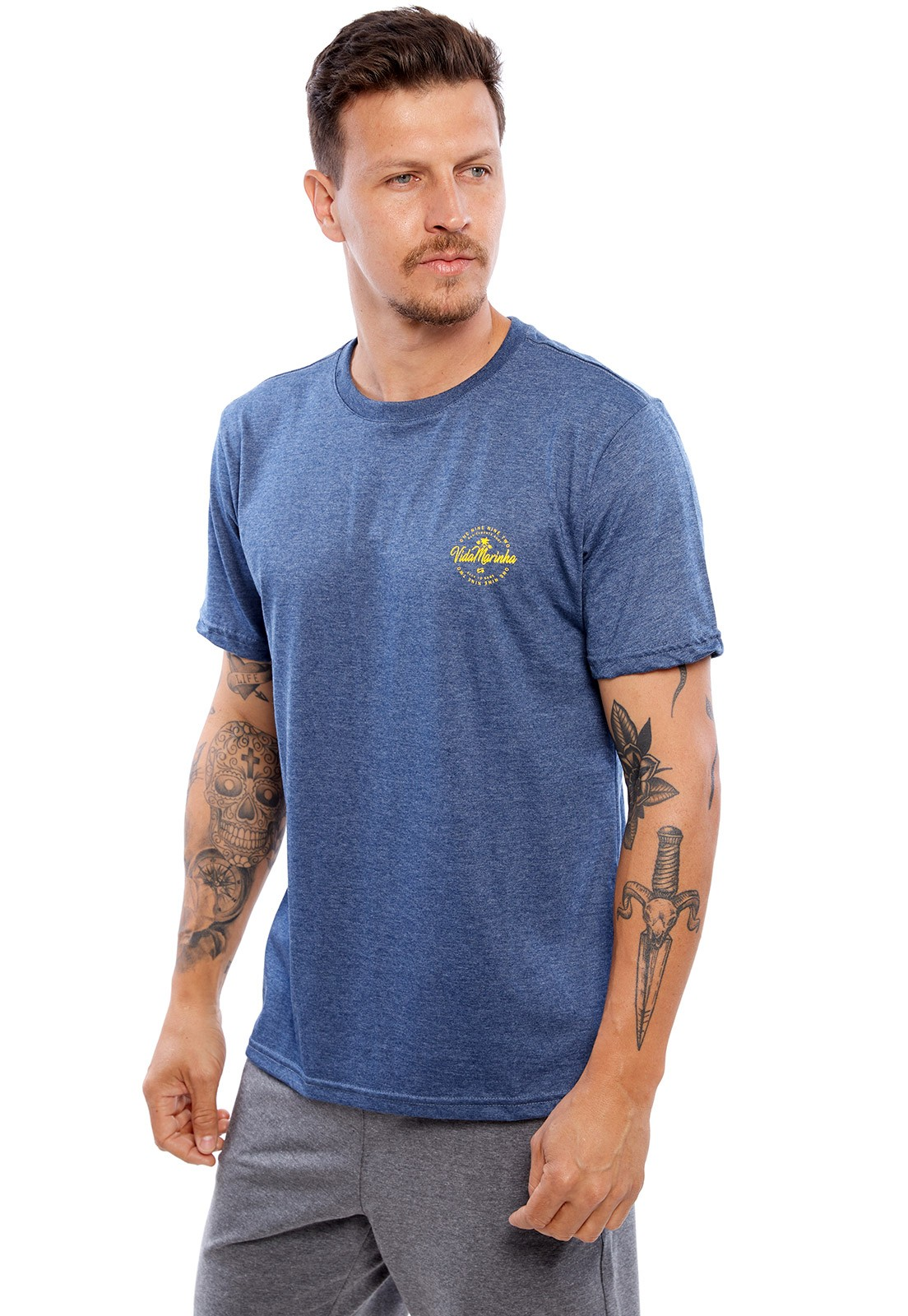 Camiseta Vida Marinha Manga Curta Azul