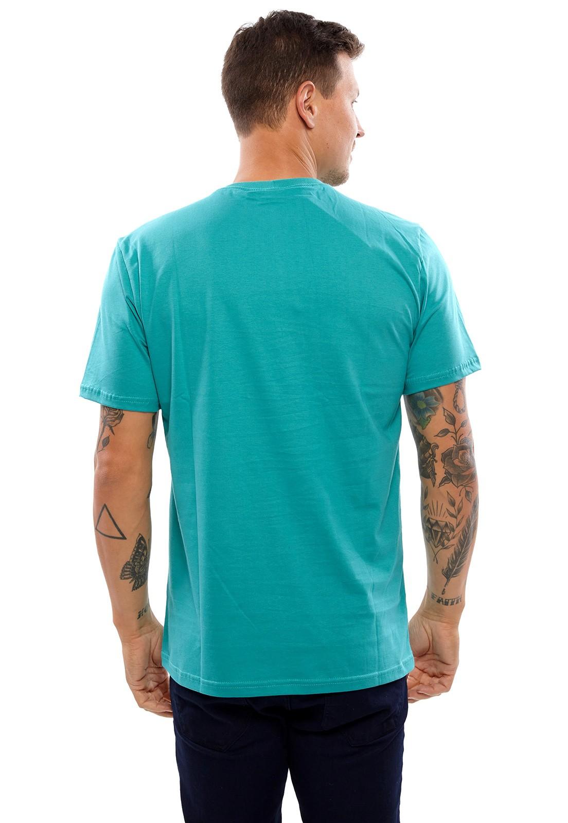 Camiseta Vida Marinha Manga Curta Azul Tiffany
