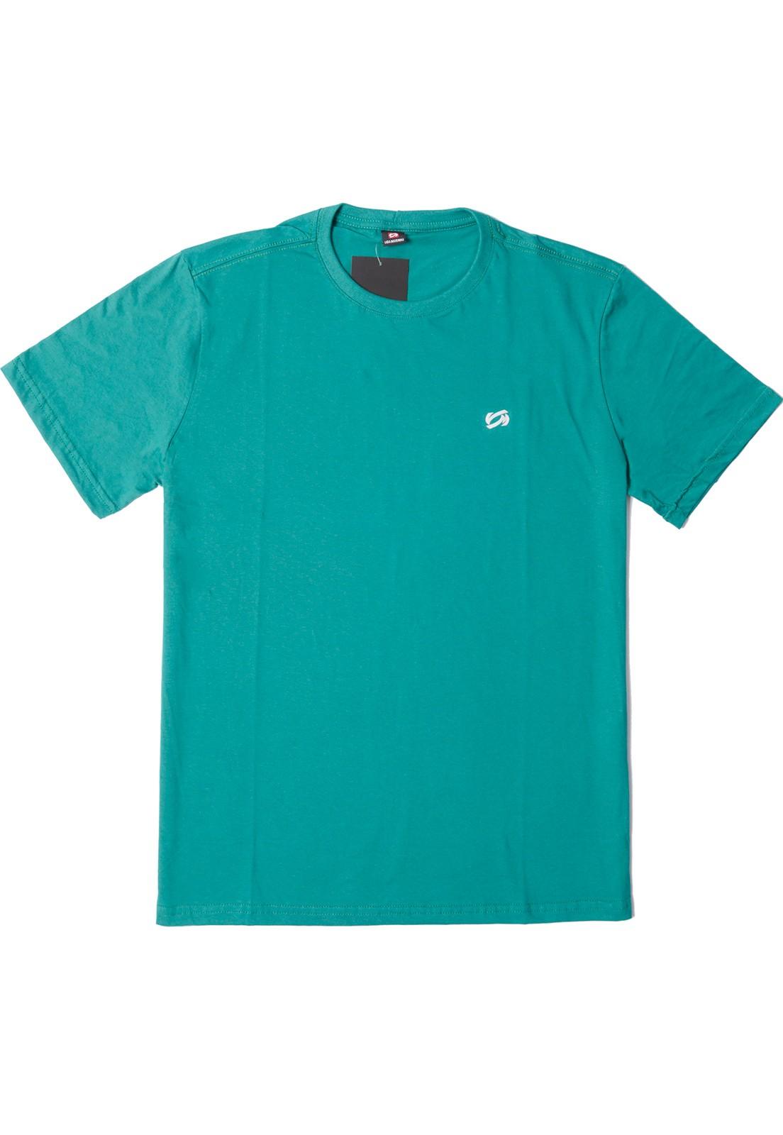 Camiseta Vida Marinha Manga Curta Básica Azul Petróleo