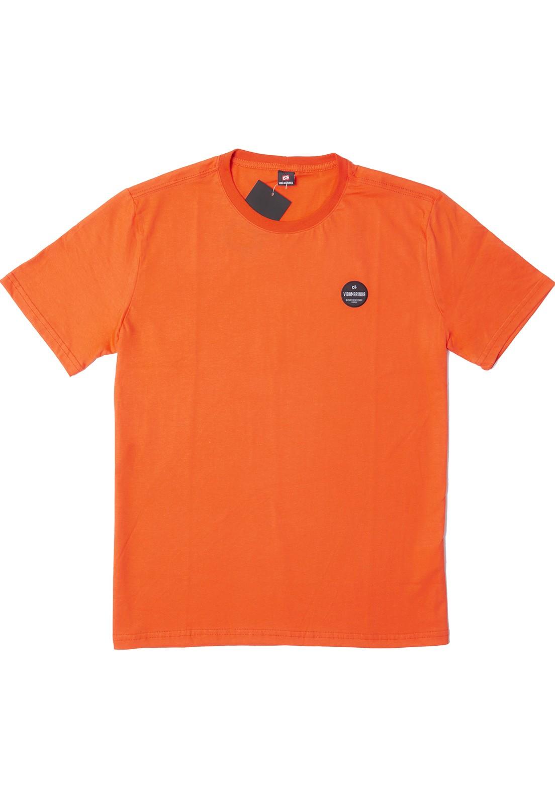 Camiseta Vida Marinha Manga Curta Básica Laranja
