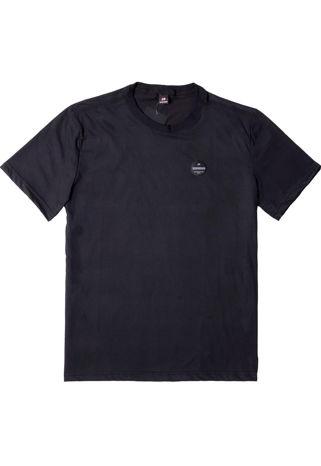 Camiseta Vida Marinha Manga Curta Básica Preto