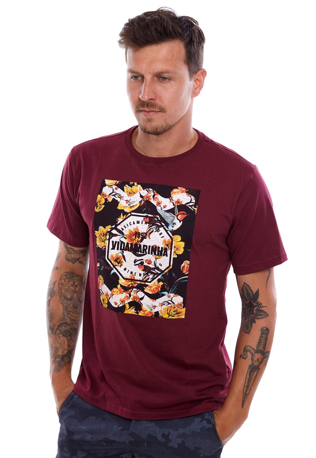 Camiseta Vida Marinha Manga Curta Bordô