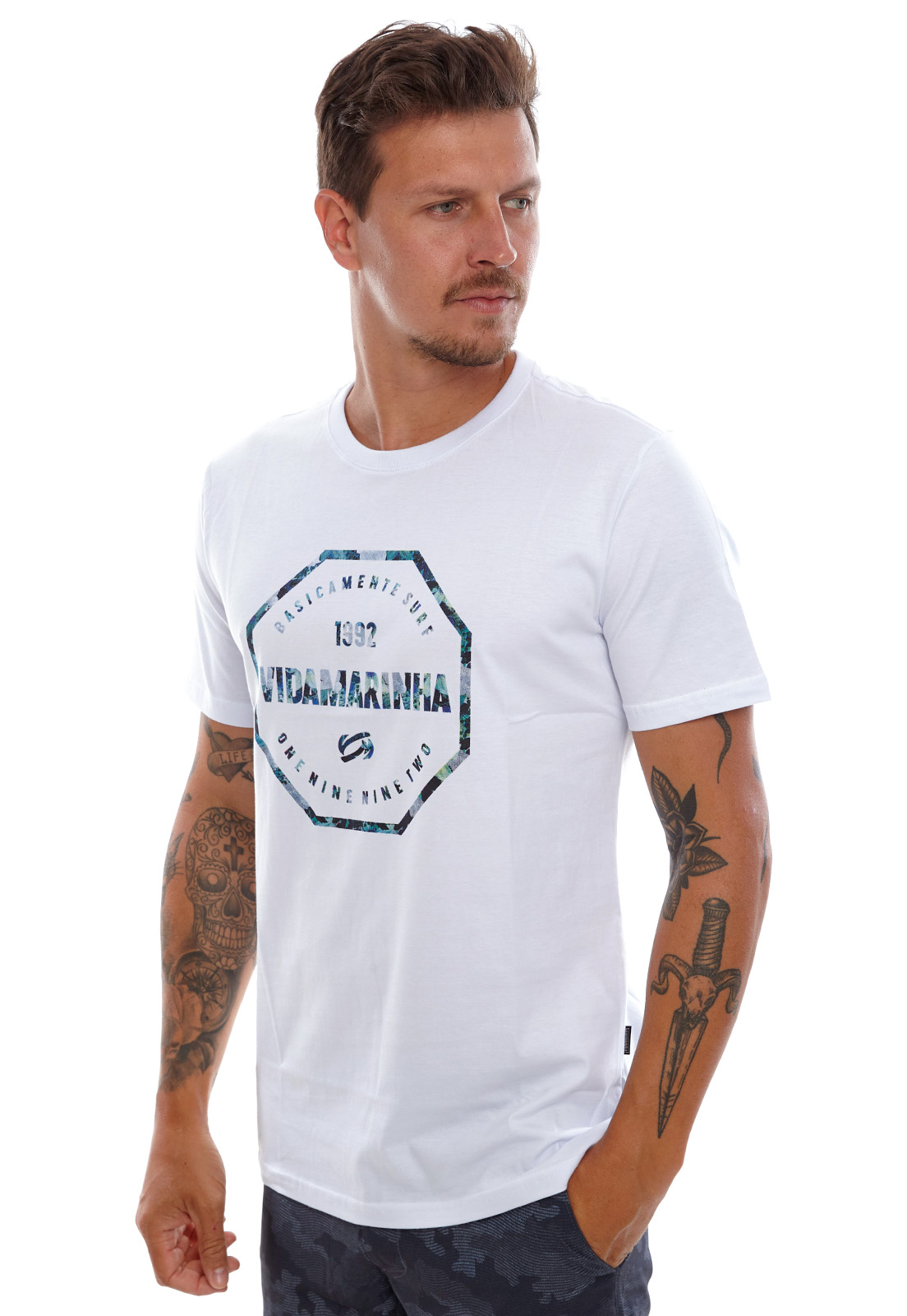 Camiseta Vida Marinha Manga Curta Branca