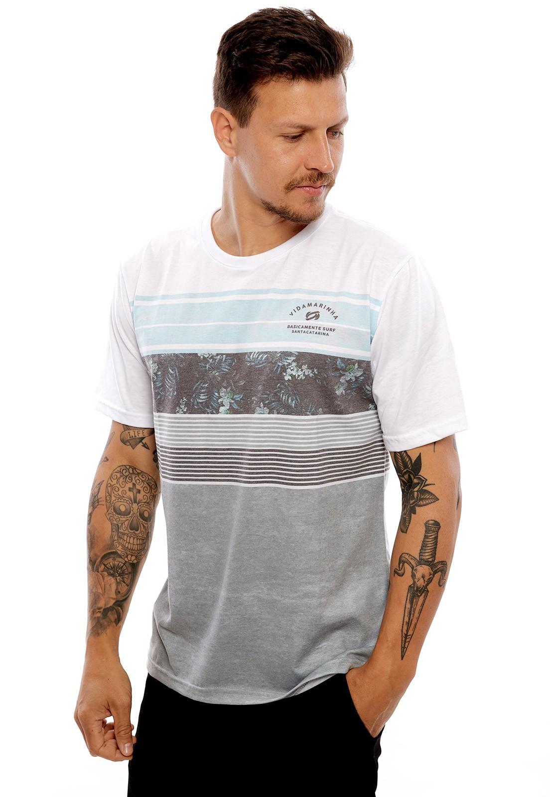 Camiseta Vida Marinha Manga Curta Branco/Cinza