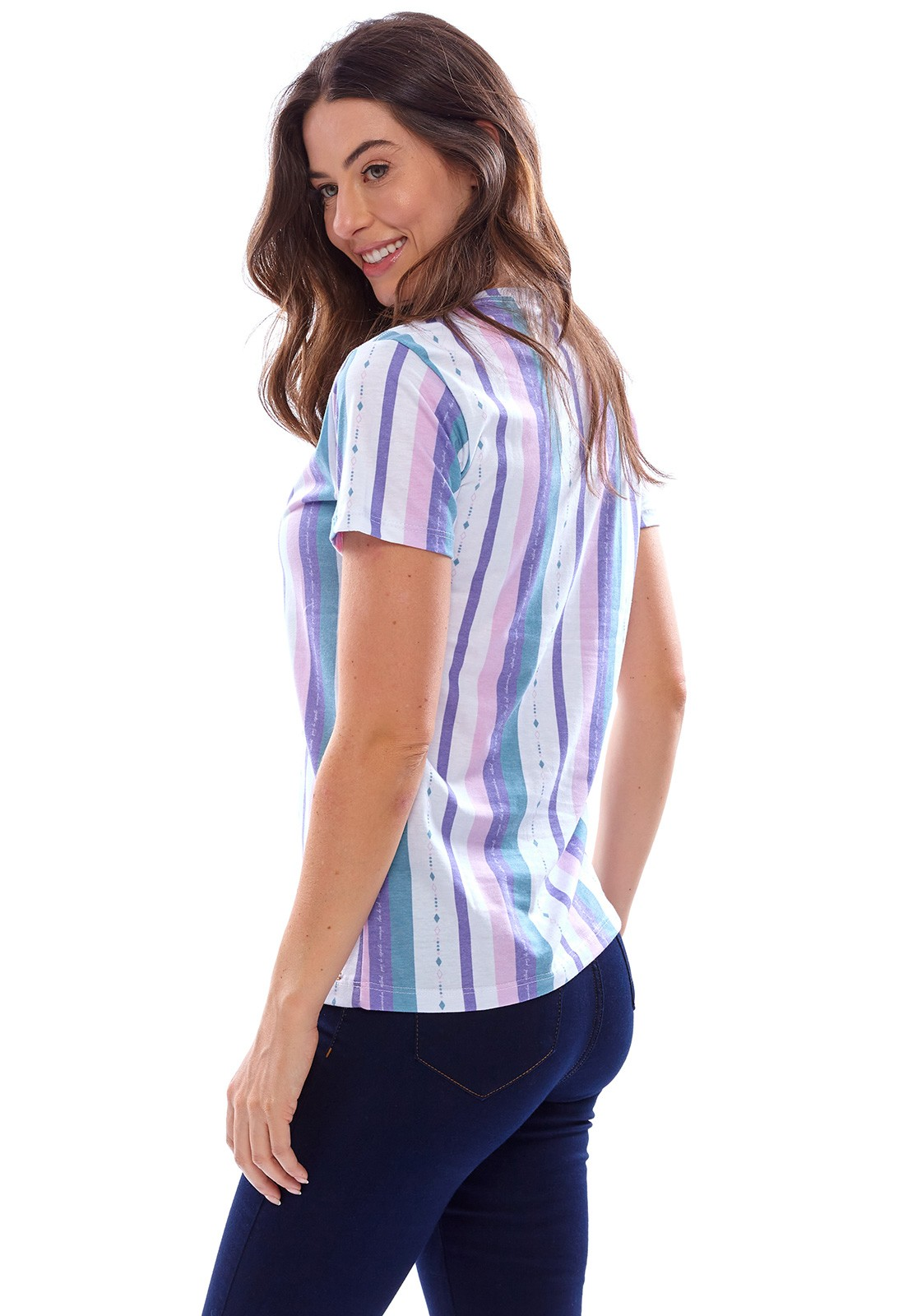 Camiseta Vida Marinha Manga Curta Branco/Color