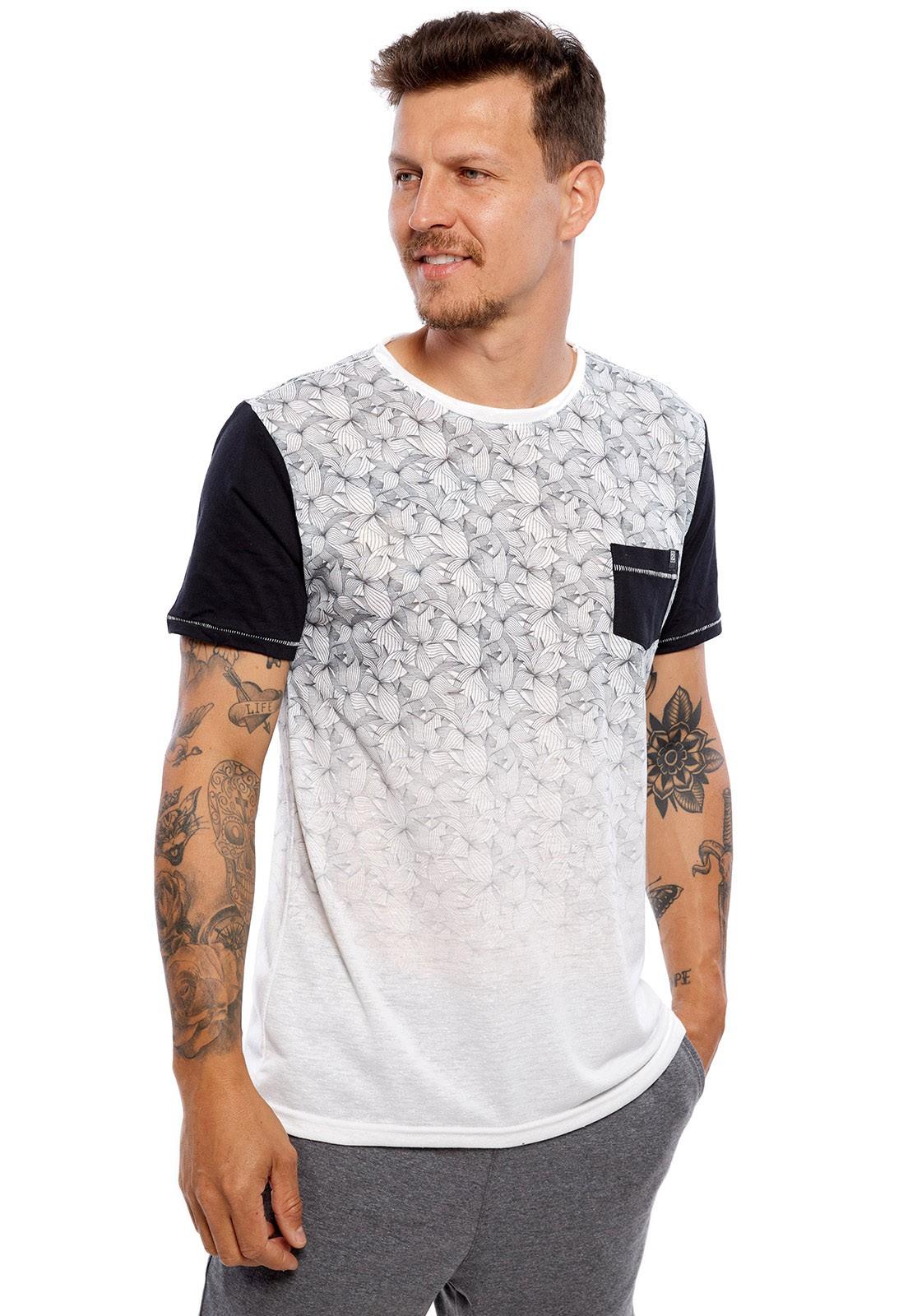 Camiseta Vida Marinha Manga Curta Branco/Preto
