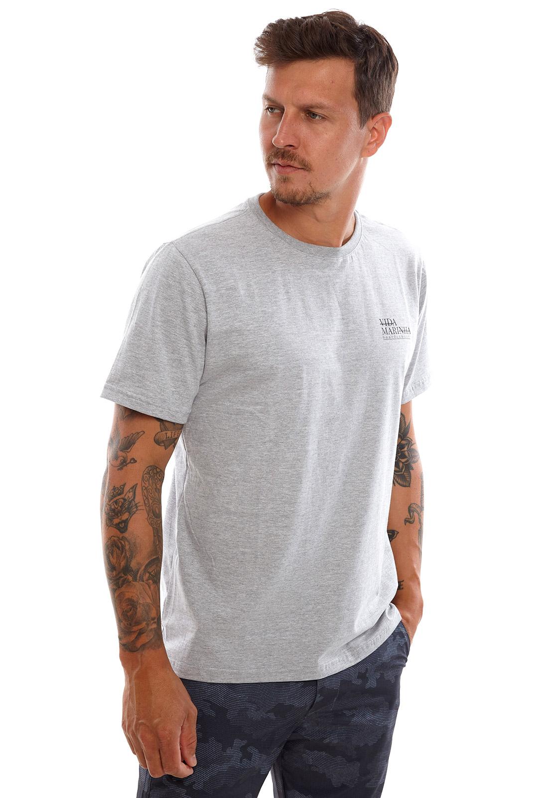 Camiseta Vida Marinha Manga Curta Cinza Claro