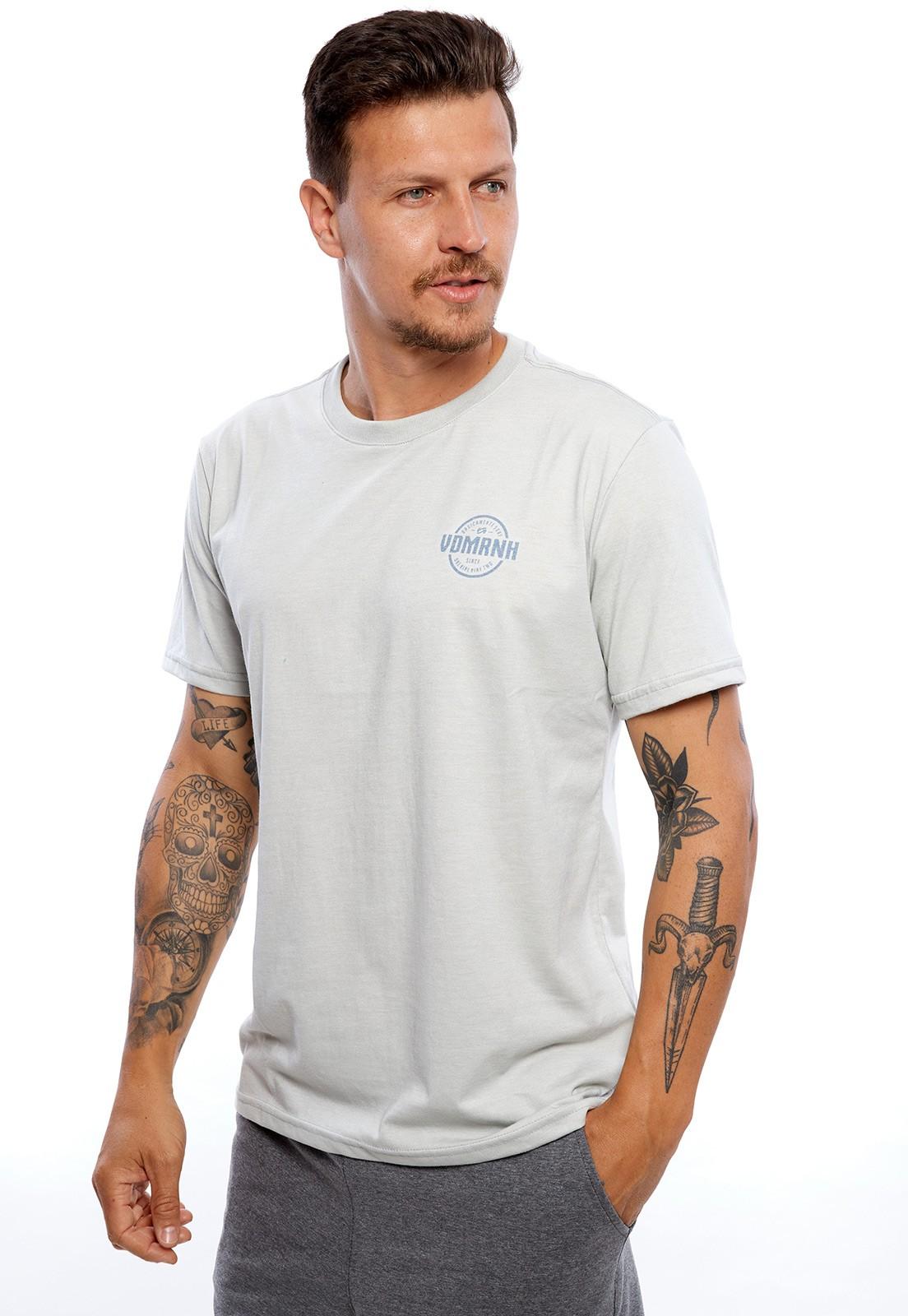 Camiseta Vida Marinha Manga Curta Cinza