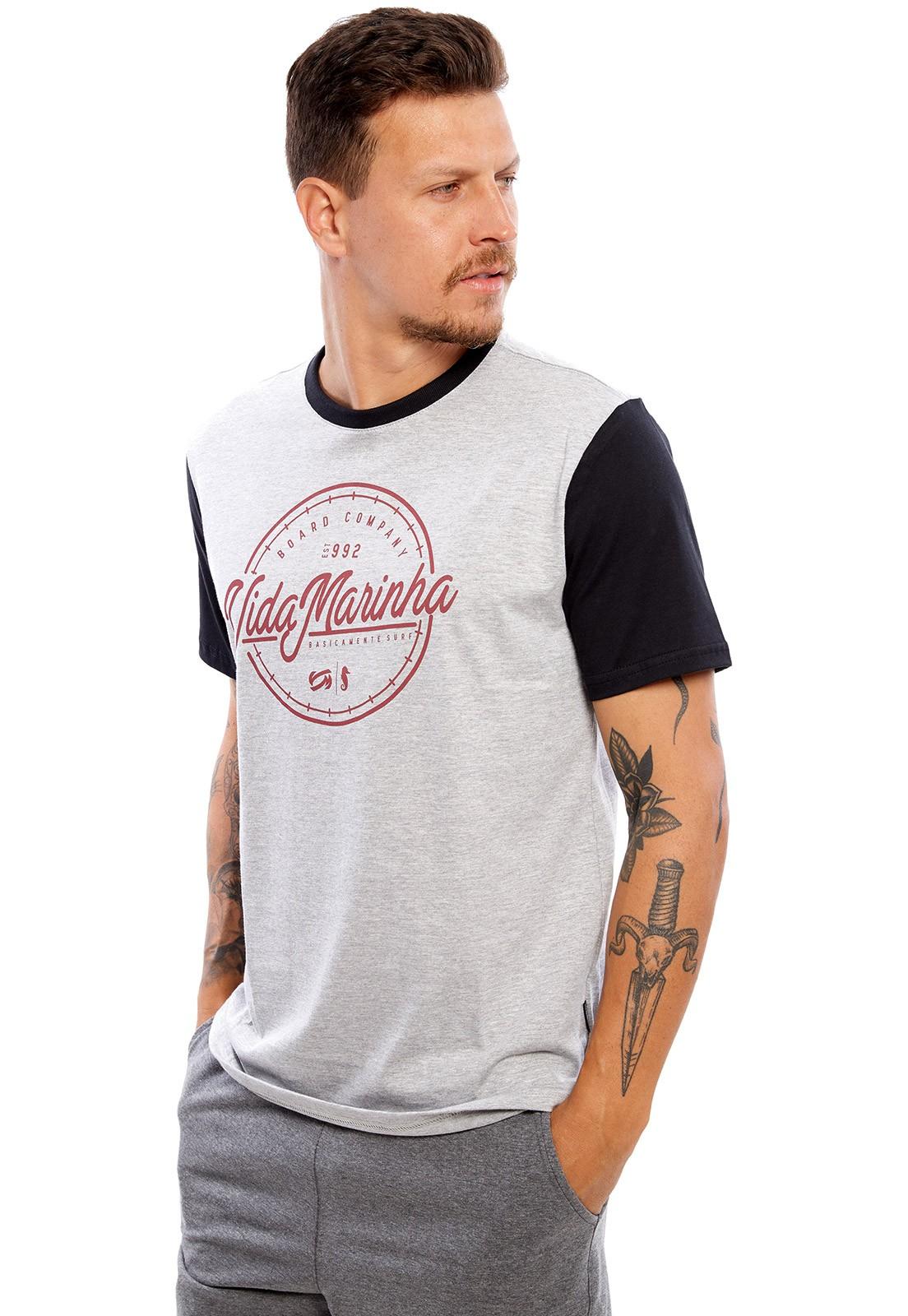 Camiseta Vida Marinha Manga Curta Cinza/Preto
