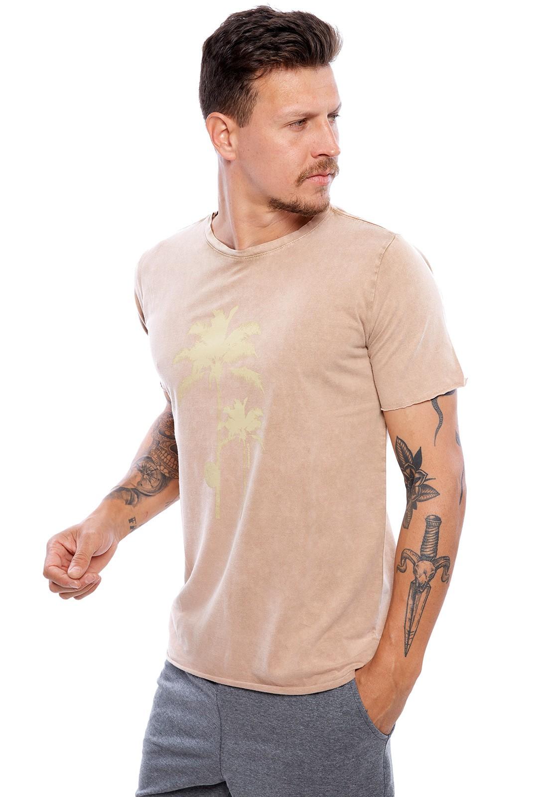 Camiseta Vida Marinha Manga Curta Especial Cáqui