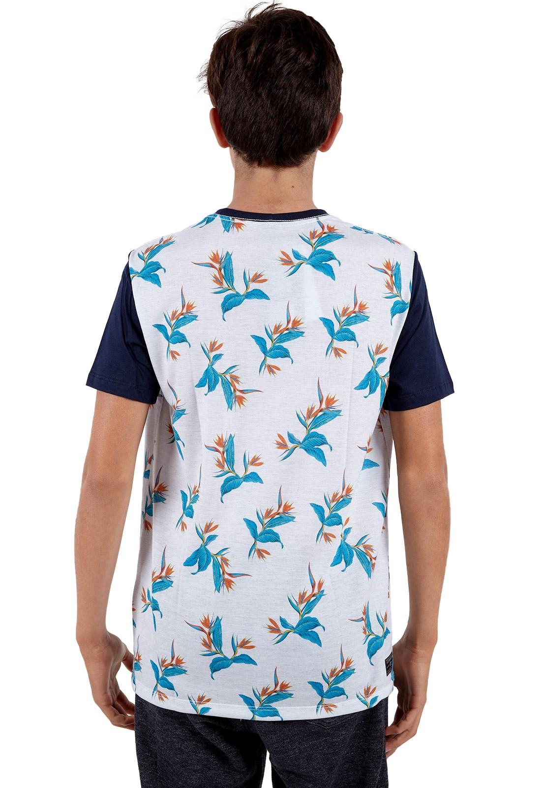 Camiseta Vida Marinha Manga Curta Branco/Azul